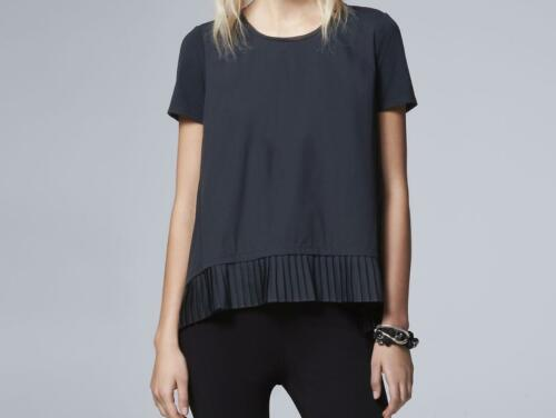 Retails $44.00 Navy New W//Tags Vera Wang Mixed-Media Pleated Hem Top