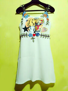 Tiger-And-Floral-Patch-With-Fleurette-Strap-Cami-Dress