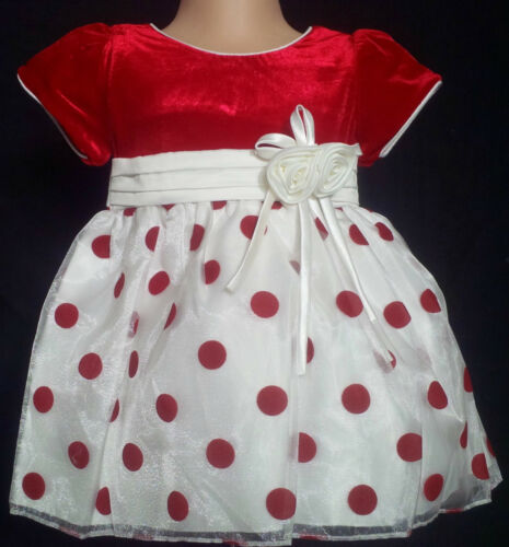 Red Ivory Polka Dot Flower Girl Party Wedding Easter Xmas Pageant Dress 0-24m