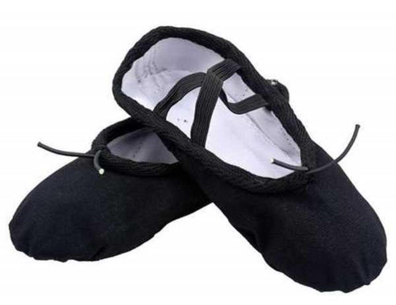 Black Canvas Ballet Shoes Yoga Gymnastic Split Sole