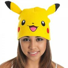 TOTALLY AWESOME UNISEX OFFICIAL POKEMON PIKACHU FACE BEANIE HAT *BRAND NEW*