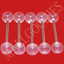 W006 Clear Acrylic Tongue Rings Barbell Bar LOT of 5