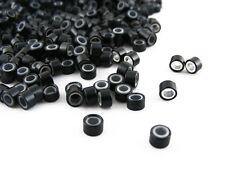Pack De 1000 Silicona Micro Anillos Beads De 5mm Negro Para i-tip Feather Extensiones