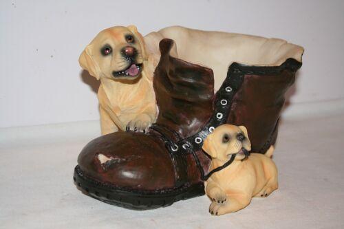Labrador Puppy on Boot Garden Plant Pot Holder,Useful Dog Owner or Gardener Gift