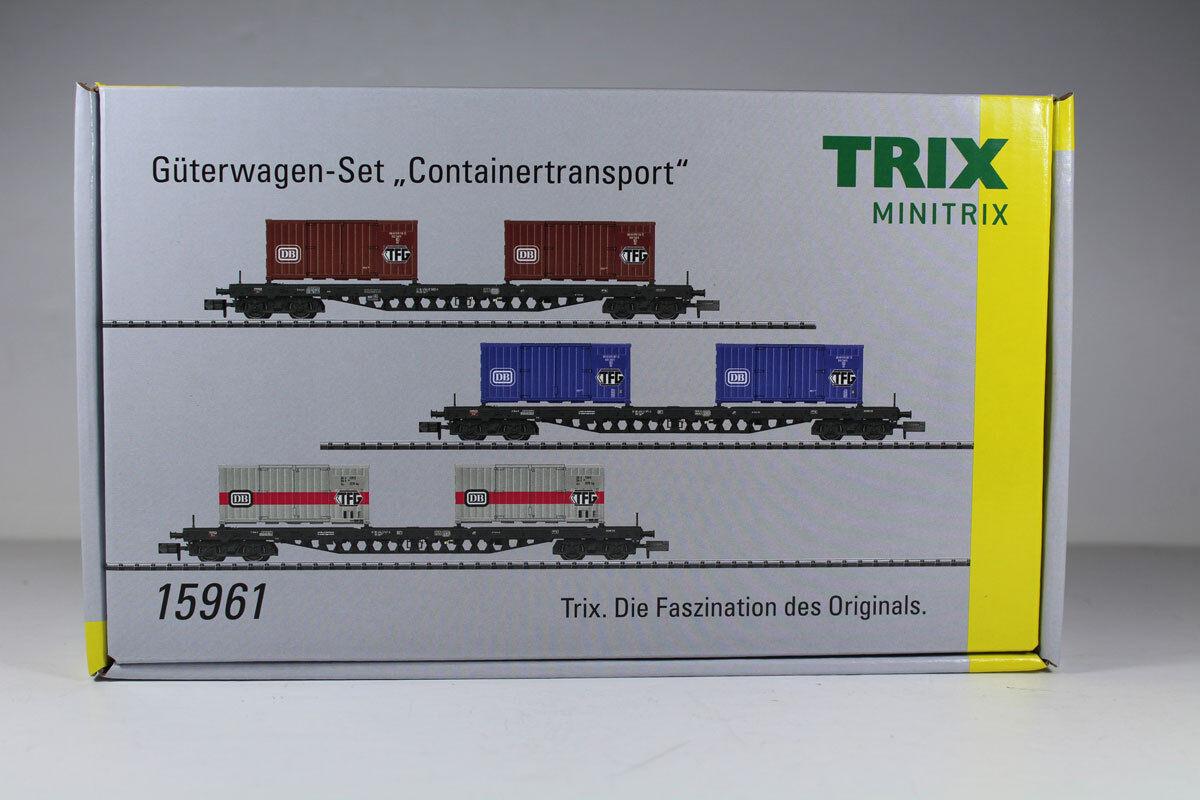 Minitrix 15961 Güterwagen-Set  Containertransport  DB DB DB EpocheI IV. Neuware.    Online Store  670d4a