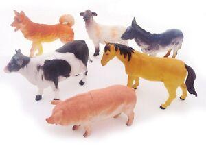 6-x-BIG-Farm-Animals-Plastic-Figures-Sheep-Cow-Horse-Dog-Pig-Model-Playset-Toys