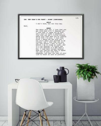 """Movie When Harry Met Sally Screenplay POSTER! - Minimalist up to 24/"""" x 36/"""""""
