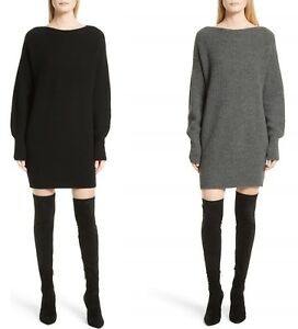 408af7c860 NWT Theory Rib Cocoon Wool Sweater Dress Black   Light Charcoal Size ...
