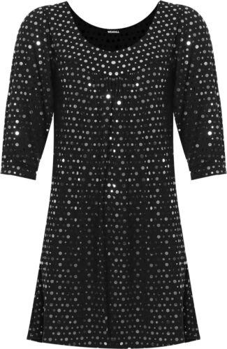 New Ladies Long Sleeve Sequin Spot Party Top Women/'s Polka Dot Scoop Neck Swing