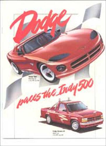 1991 Indy 500 Dodge dealer book Viper Pace Car Stealth RT Dakota Brochure