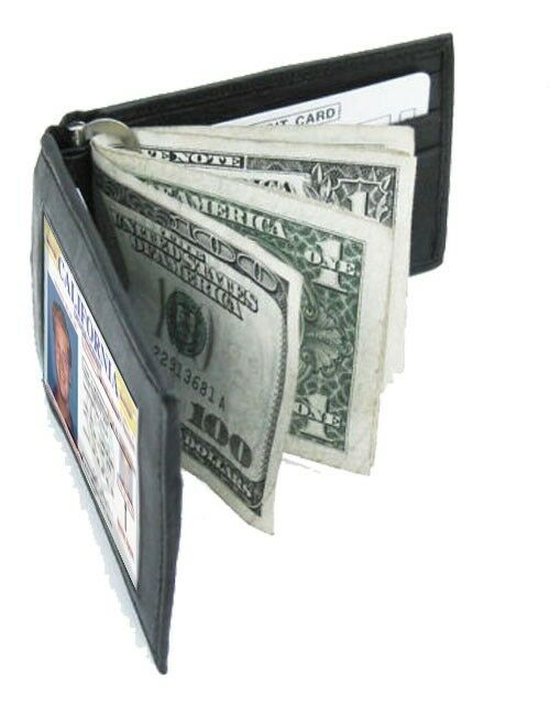 Mens Black Genuine Leather Bifold MONEY CLIP Badge ID Front Pocket Thin Wallet