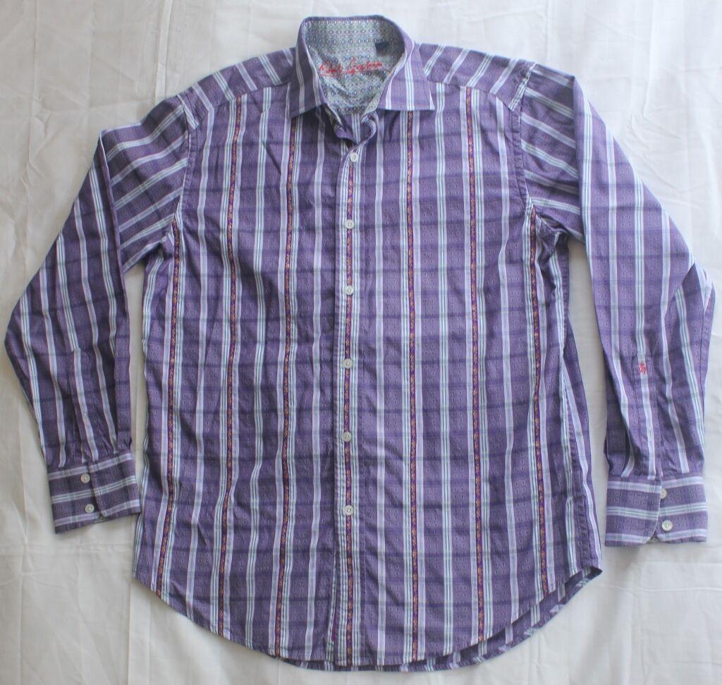 Men's Robert Graham Purple Floral Stripe colorful Embroidery Shirt Size M