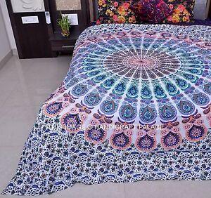 Blanc-Mandala-Indien-Hippie-Housse-De-Couette-Literie-Ethnique-Couverture