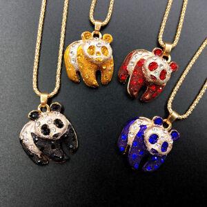 Fashion-Jewelry-Rhinestone-Enamel-Lovely-Chinese-Panda-Pendant-Necklace-Chain
