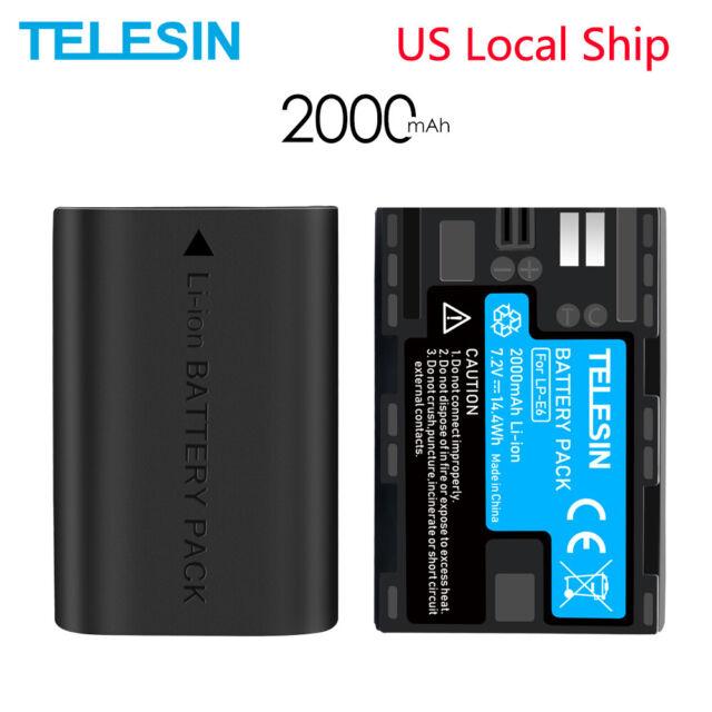 TELESIN 2Pack LP-E6 Battery for Canon LPE6N EOS 5DS R 5D2 5D3 60D 70D 6D 7D