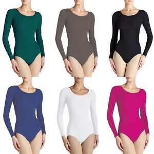 Ladies Womens Mesh Detail Bodysuit Long Sleeves Top Round Neck Leotard Uk 8-14