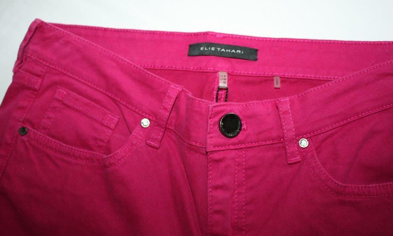 Elie Tahari Women's Jeans Candy Pink size 6 E8DUN203 S Brand Zippered Ankle NWT
