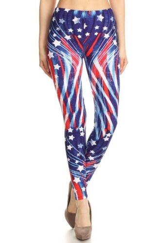 USA Patriotic Red White Blue Star Flag American Pride Leggings Regular One Size