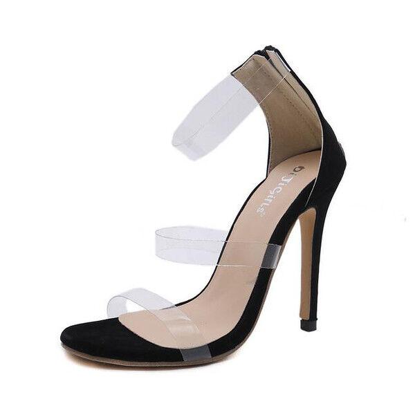 Sandale stiletto eleganti tacco 12 cm nero strass simil pelle eleganti 1154