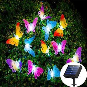LED Solare Farfalla fibra ottica FAIRY stringa luci Giardino Esterni Nuovo
