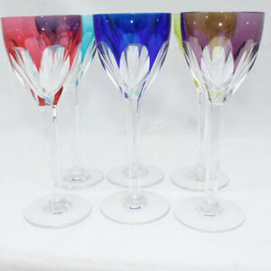 Crystallerie-France-Cut-to-Clear-Wine-Goblet-Various-Colors-Set-of-6