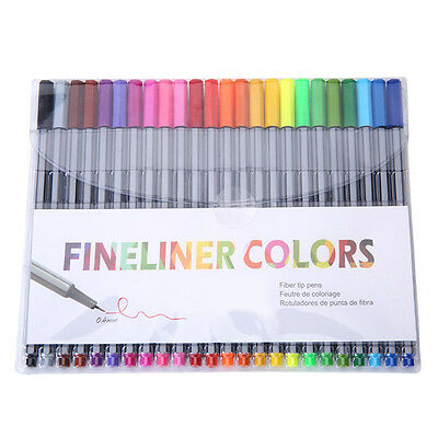 24 Fineliner Pens Color Fineliners Set Markers Art Painting Good Quality O7M
