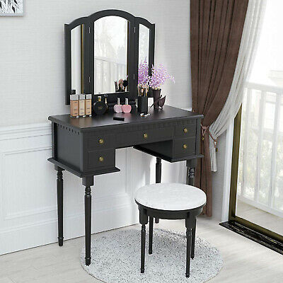 Stool 3 Piece Girls High Gloss Pink Bedroom Vanity Dressing Table Set Mirror