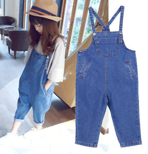 Girls-Kids-Harem-Denim-Pants-Jeans-Dungarees-Baggy-Bib-Overalls-Jumpsuit-Pants