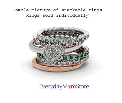 May Birthstone Ring QSK1589 Silver Stackable Ring Round Created Emerald stone