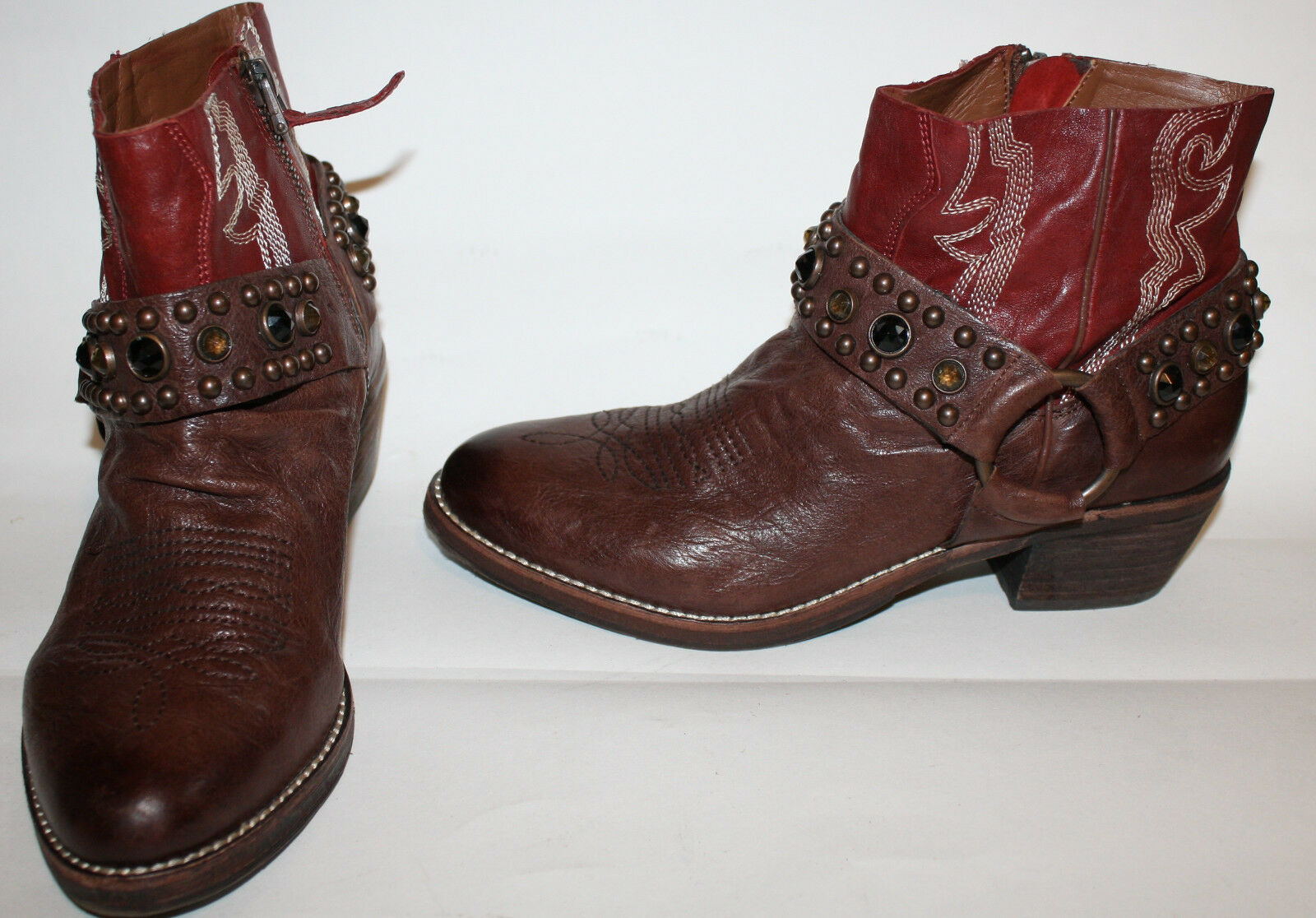 SAM EDELMAN Brown Red Leather Jeweled Western Cowboy Boots 6M LN Skyter