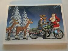 10 HARLEY DAVIDSON CHRISTMAS CARDS #X481 HARLEY RUDOLPH WITH SANTA IN SIDECAR