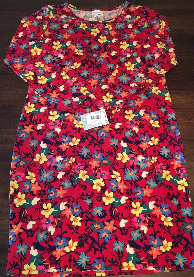 NWT LuLaRoe 2XL Debbie L S Fitted Dress rot With Grün Rosa Blau Gelb Floral