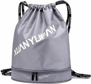 Drawstring Backpack Bag With Shoe Compartment,Waterproof Gym Sackpack with Dry Wet Separated,Sports,Yoga Gym Swim Bag for Kids Men Women