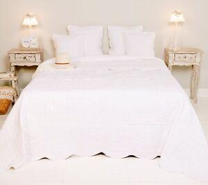 tagesdecke 100 baumwolle 260x260 bett berwurf patchwork bestickt wei quilt ebay. Black Bedroom Furniture Sets. Home Design Ideas