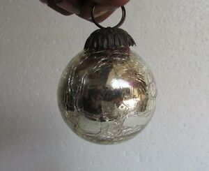 Collectible Christmas Ornaments vintage silver crackle round heavy glass kugel christmas ornament