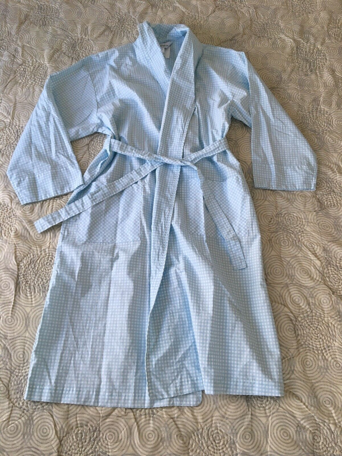 NEW The Vermont Country Store Portuguese Cotton Gingham Robe Mens Sz M