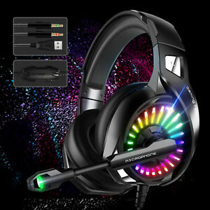 LED Ergonomic Gaming Headset Noise Cancelling Mic Headphone for PS5 Xbox One PC