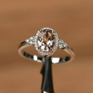 1-75Ct-Oval-Brilliant-Cut-Morganite-Engagement-Ring-14K-White-Gold-Over