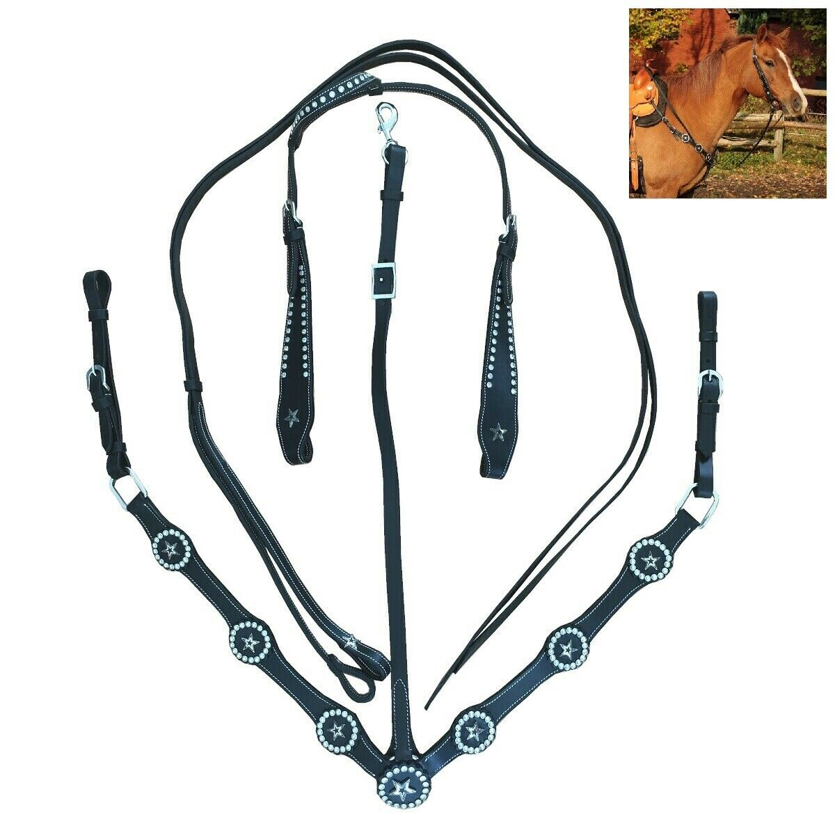Pferde Zubehör Leder Western Einohrtrense mit Zügel und Vorderzeug black