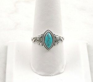Sterling-Silver-2-ct-Marquise-Turquoise-Ring-Free-Gift-Packaging