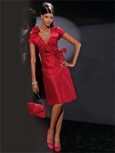 Designer-Singh-S-Madan-Heine-Ladies-red-dress-silk-wrap-over-Size-8