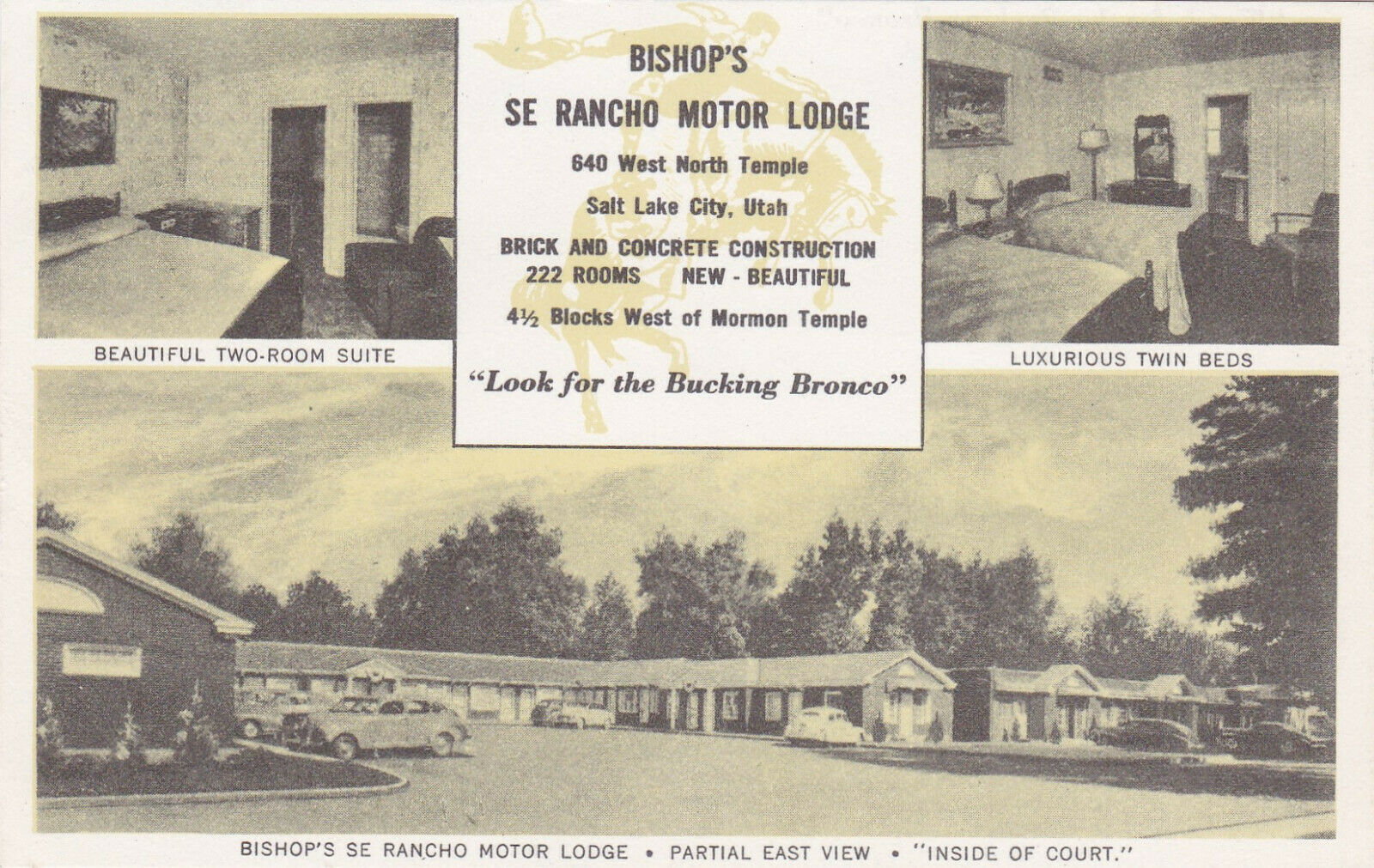 SALT LAKE CITY, Utah, 1910-20s; 3-Views, Bishop's Se Rancho Motor Lodge