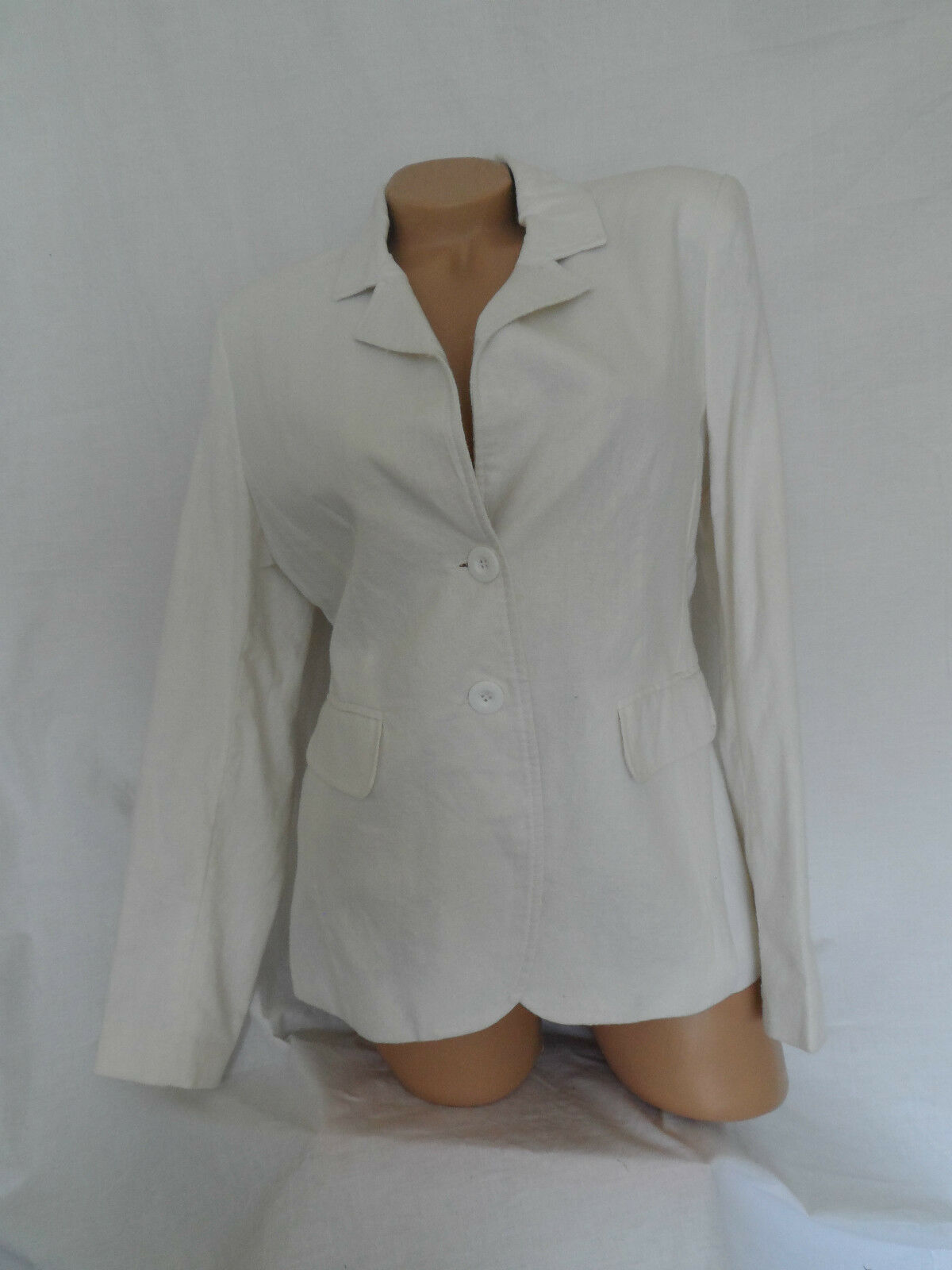 NEW WOMAN'S LADIES COTTON LINEN BLEND FULLY LINED SMART JACKET IN OFF WHITE