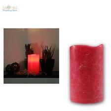 LED Echtwachs Kerze 12,5x7,5cm ROT flammenlose Kerzen mit Timer flackernd candle