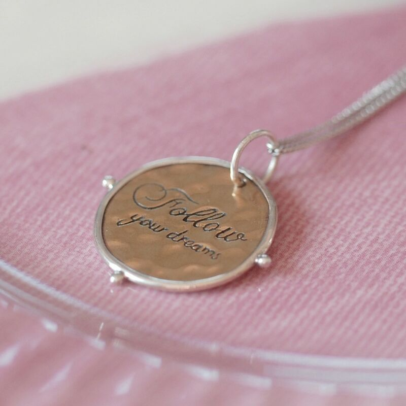 'follow Your Dreams' Necklace, Sterling Silver Necklace, Dreams (d2d3)
