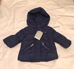 24d4435e3 ZARA Baby Girls  Quilted Jacket with Hood Navy 3-6 months BNWT ...