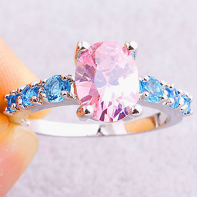 Classic Pink Blue Topaz Gems Fashion Women Silver Ring Size 6 7 8 9 10 11 12 13