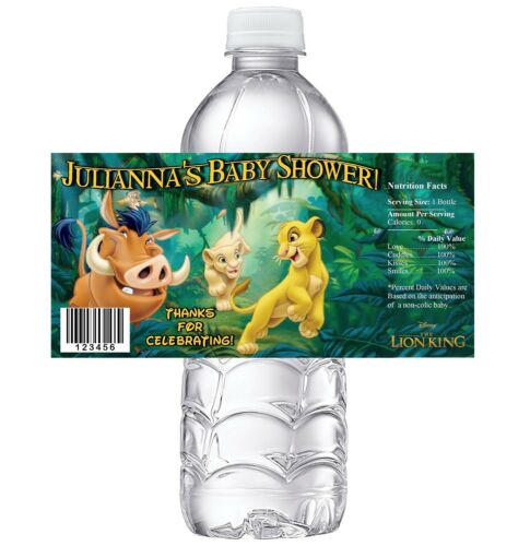 20 LION KING PERSONALIZED BABY SHOWER PARTY FAVORS WATER BOTTLE LABELS WRAPPERS