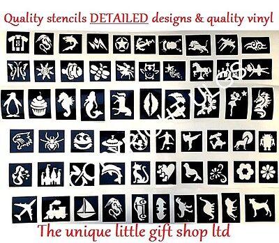 Glitter tattoo stencils x 50 facepainting Top up ur glitter tattoo kit christmas