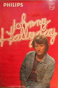 rare-poster-affiche-JOHNNY-HALLYDAY-PHILIPS-1976-120-x-80-CM